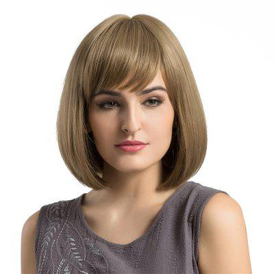 Inclined Fringe Short Straight Bob Synthetic Wig