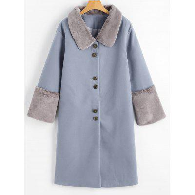 Buy GREY BLUE S Button Up Faux Fur Trim Coat for $57.63 in GearBest store