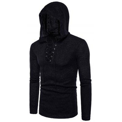 Hooded Lace Up Long Sleeve Knitted Sweater