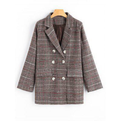 Double Breasted Pockets Checked Lapel Blazer