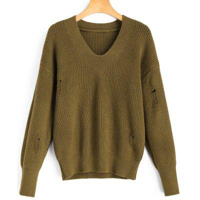 Distressed V Neck Pullover Sweater