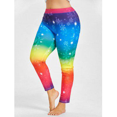 Buy BLUE 3XL Plus Size Rainbow Snowflake Printed Christmas Leggings for $16.85 in GearBest store