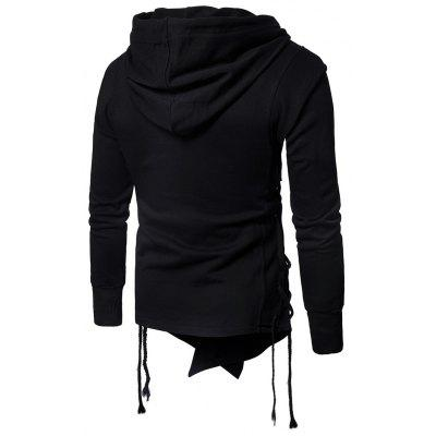 Hooded Asymmetric Side Lace Up Zip Up HoodieMens Hoodies &amp; Sweatshirts<br>Hooded Asymmetric Side Lace Up Zip Up Hoodie<br><br>Closure Type: Zipper<br>Clothes Type: Hoodie Jacket<br>Material: Cotton, Polyester<br>Occasion: Going Out, Daily Use, Club, Casual<br>Package Contents: 1 x Hoodie<br>Patterns: Solid<br>Shirt Length: Regular<br>Sleeve Length: Full<br>Style: Punk<br>Thickness: Regular<br>Weight: 0.9200kg