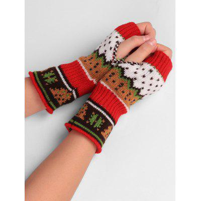 Buy RED Christmas Tree Decorated Crochet Knit Fingerless Gloves for $4.33 in GearBest store