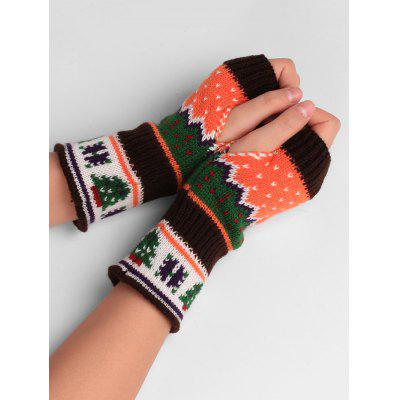 Buy COFFEE Christmas Tree Decorated Crochet Knit Fingerless Gloves for $4.33 in GearBest store