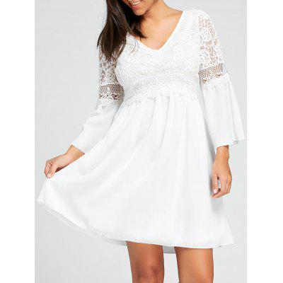 Lace Insert Empire Waist Mini Dress
