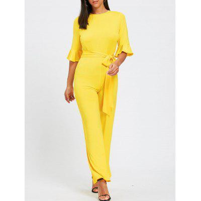 Bell Sleeve Belted Wide Leg Jumpsuit