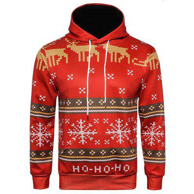 Hooded Christmas Ugly Snowflake Graphic Print Hoodie
