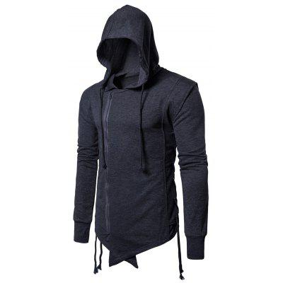 Hooded Asymmetric Side Lace Up Zip Up Hoodie