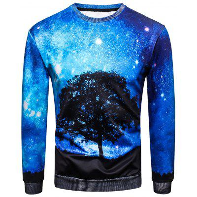 Sweat-shirt Pull-over 3D Arbre Galaxie Imprimé à Col Rond