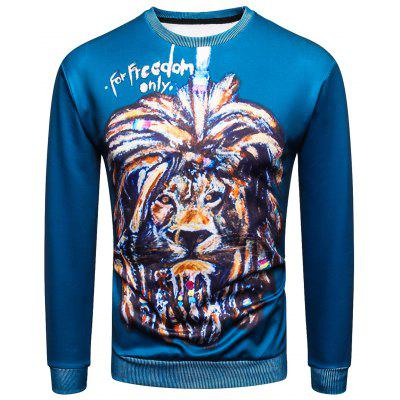 Sweat-shirt Pull-over 3D Lion Peinture Imprimé à Col Rond