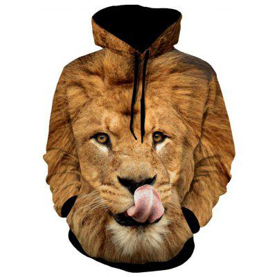 Lion Patterned 3D Animal Hoodie