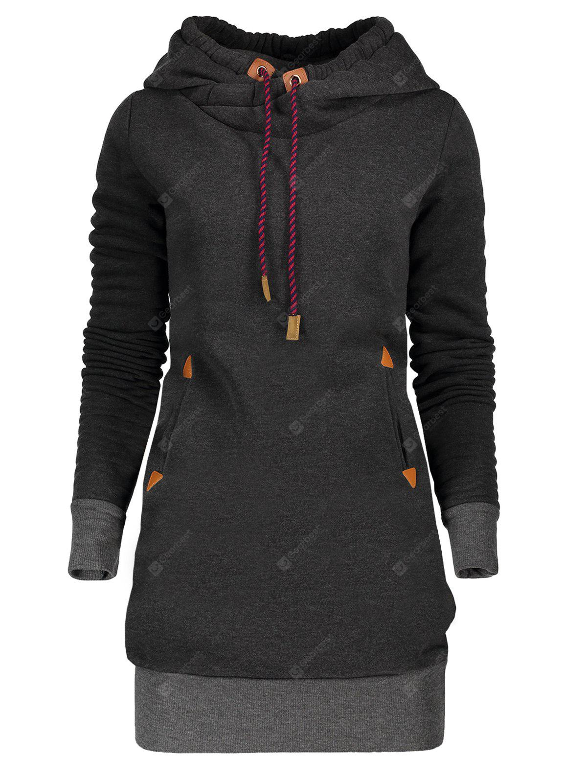 Tunic Hoodie Dress with Pocket and Drawstring