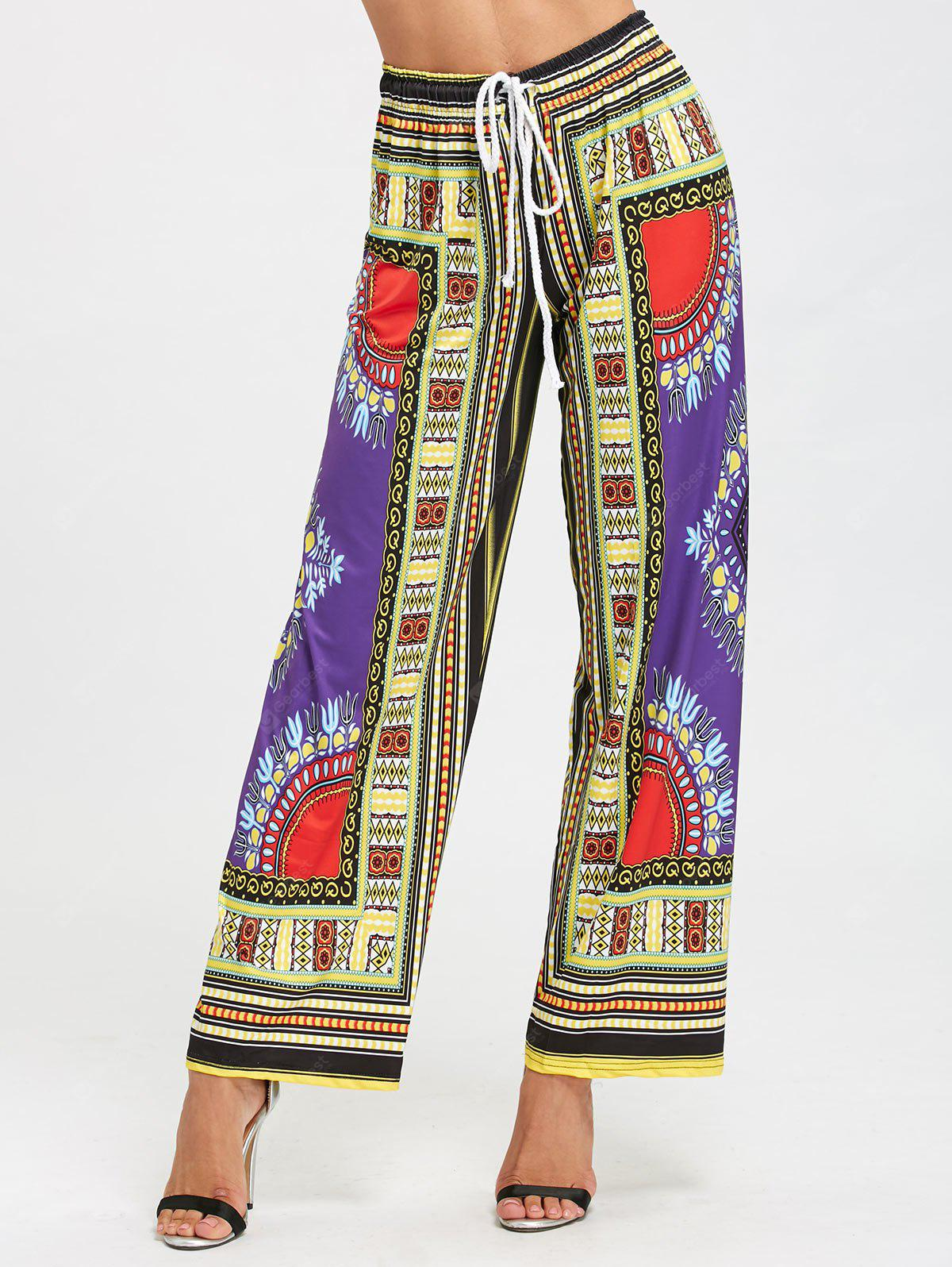 High Waist African Print Wide Leg Pants