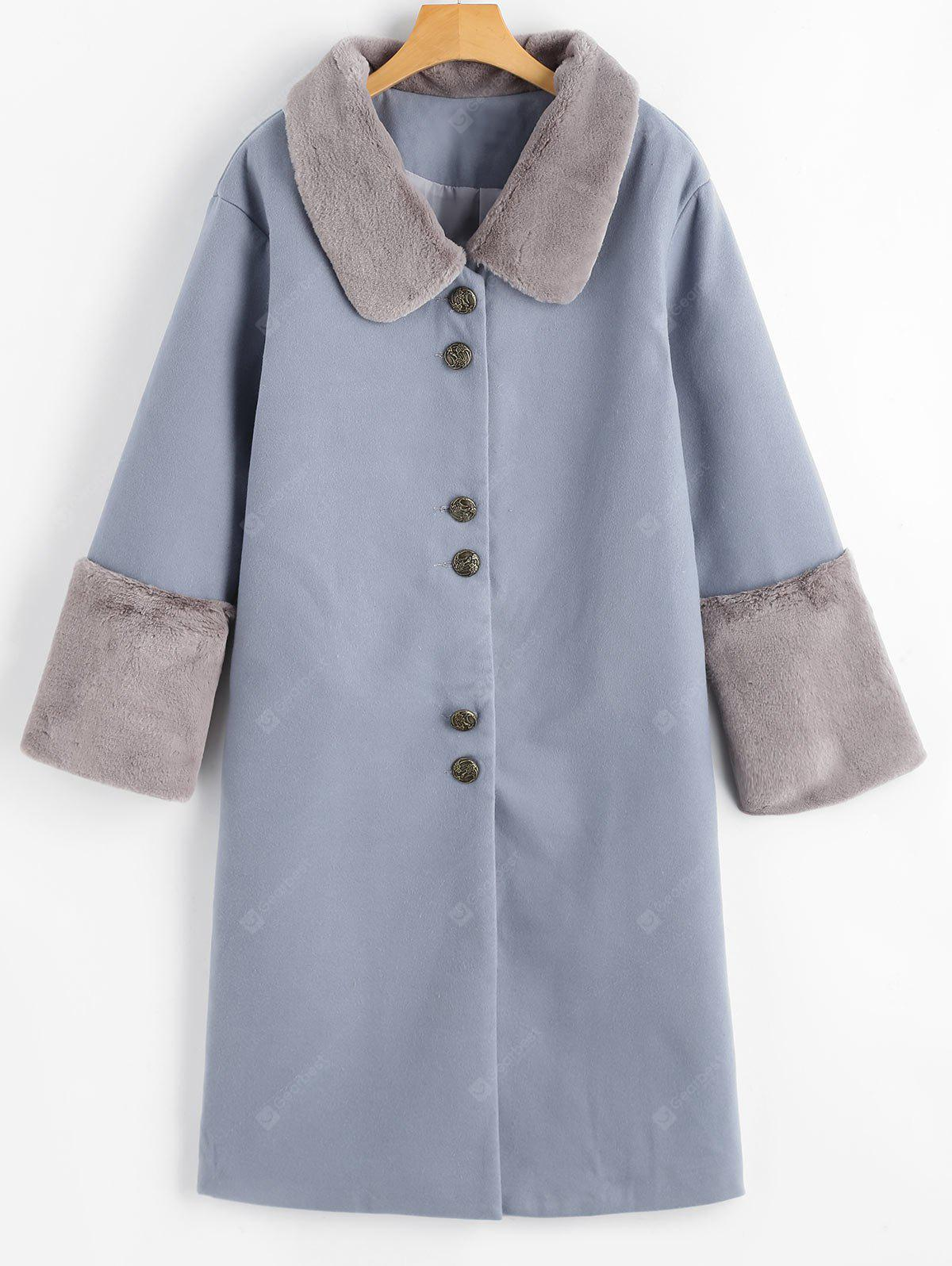 GREY BLUE L Button Up Faux Fur Trim Coat