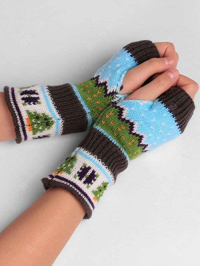 Christmas Tree Decorated Crochet Knit Fingerless Gloves