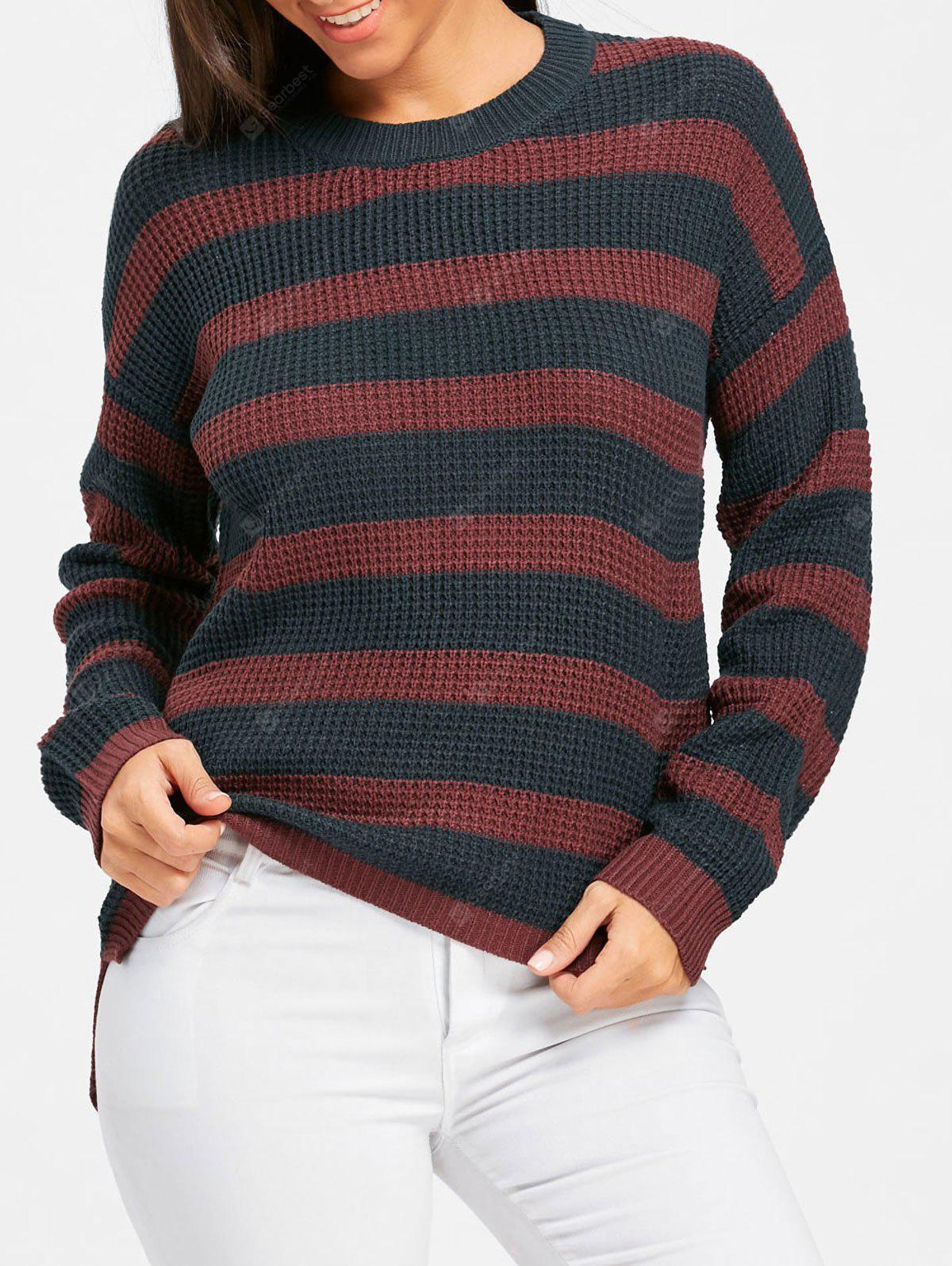 Crew Neck Striped High Low Tunic Sweater