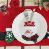 Christmas Snowman Table Decorations Knife And Fork Bag - RED AND WHITE