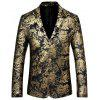 Blazer Vintage avec Boutonnage Simple et Revers en Velours - OR