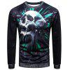 Sweat-shirt Pull-over 3D Crâne Imprimé à Col Rond - MULTICOLORE