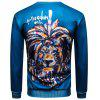 Sweat-shirt Pull-over 3D Lion Peinture Imprimé à Col Rond - MULTICOLORE