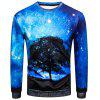 Sweat-shirt Pull-over 3D Arbre Galaxie Imprimé à Col Rond - MULTICOLORE