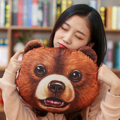 3D Bear Head Shape Warm Hand Nap Cushion Throw Pillow