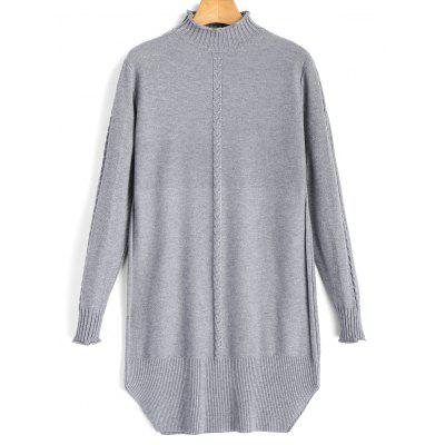 Pullover Cable Knit Panel Mock Neck Sweater