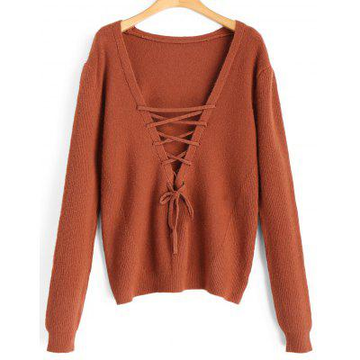 Pullover V Neck Lace Up Sweater