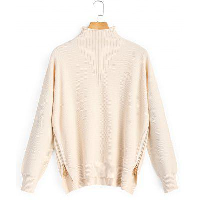 Textured Side Zip Mock Neck Sweater