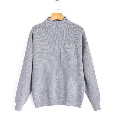 Mock Neck Pocket Pullover Sweater