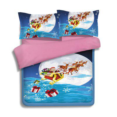 Buy BLUE QUEEN Christmas Sled Moon Print 3Pcs Polyester Fiber Bedding Sets for $82.06 in GearBest store