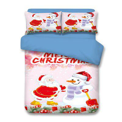 Buy LIGHT PINK QUEEN Christmas Snowman Santa Claus Print Polyester Fiber 3Pcs Bedding Sets for $82.06 in GearBest store