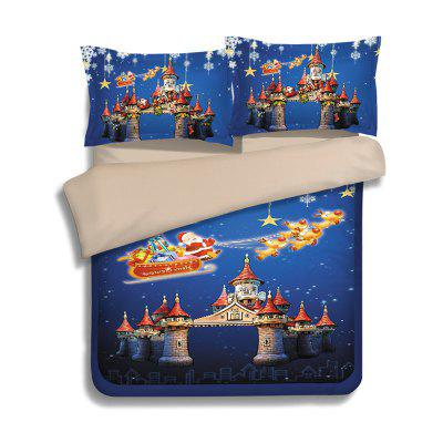 Buy BLUE FULL Christmas Sled Castle Print 3Pcs Polyester Fiber Bedding Sets for $78.78 in GearBest store