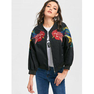 Buy BLACK L Zip Up Cock Embroidered Patch Jacket for $39.11 in GearBest store