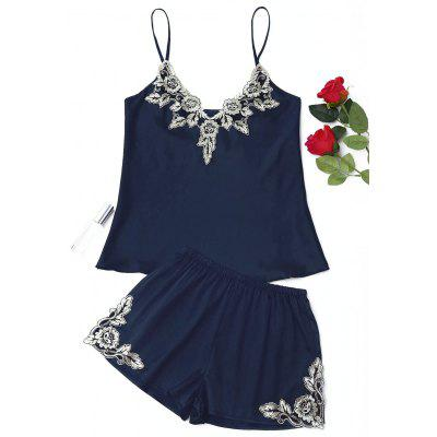 Buy PURPLISH BLUE XL Satin Flower Applique Pajama Set for $21.81 in GearBest store