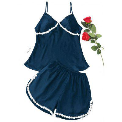 Buy CADETBLUE L Satin Laced Pajama Set for $19.84 in GearBest store
