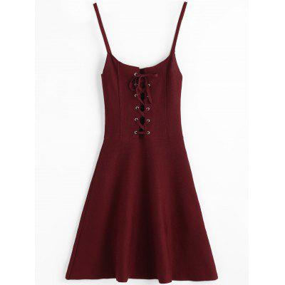 Lace-up A Line Knitted Slip Dress