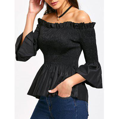 Flounced Off The Shoulder Smocked Blouse