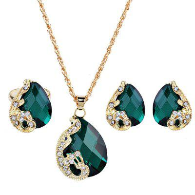 Faux Gem Peacock Teardrop Jewelry Set