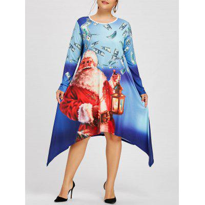 Plus Size Santa Claus Crescent Hem Tee Dress