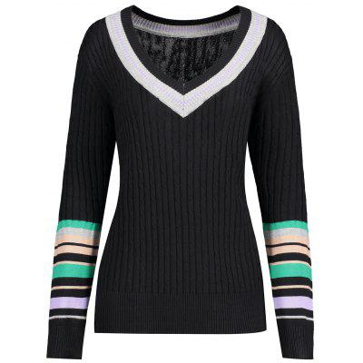 Plus Size Striped V Neck Sweater