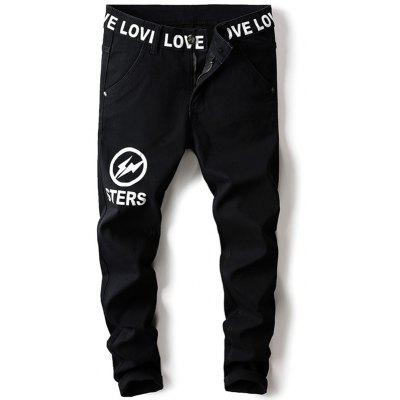 Zip Fly Lightning Graphic Jeans