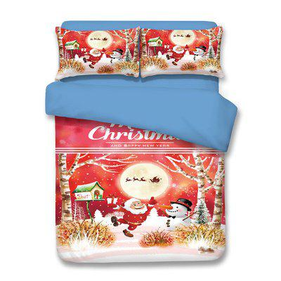 Buy COLORMIX QUEEN Christmas Santa Claus Snowman Print 3PCS Bedding Set for $82.06 in GearBest store