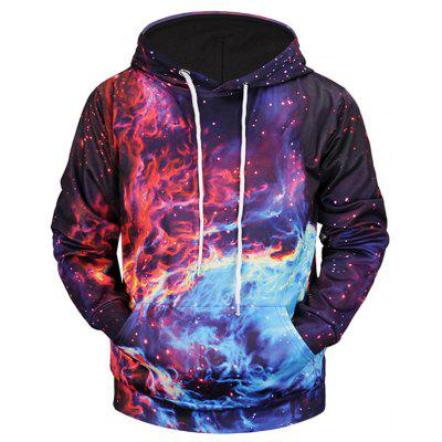 Kangaroo Pocket Colorful Flame Print Hoodie