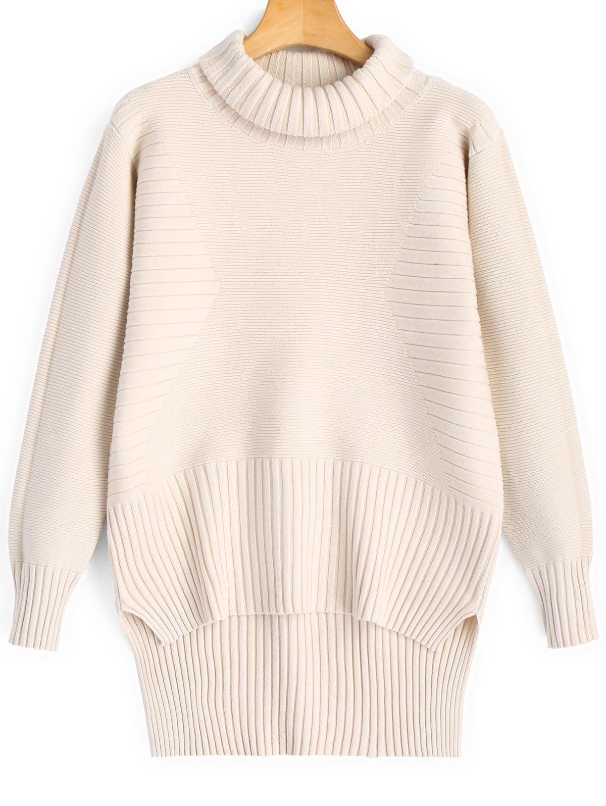 High Low Turtleneck Pullover Sweater