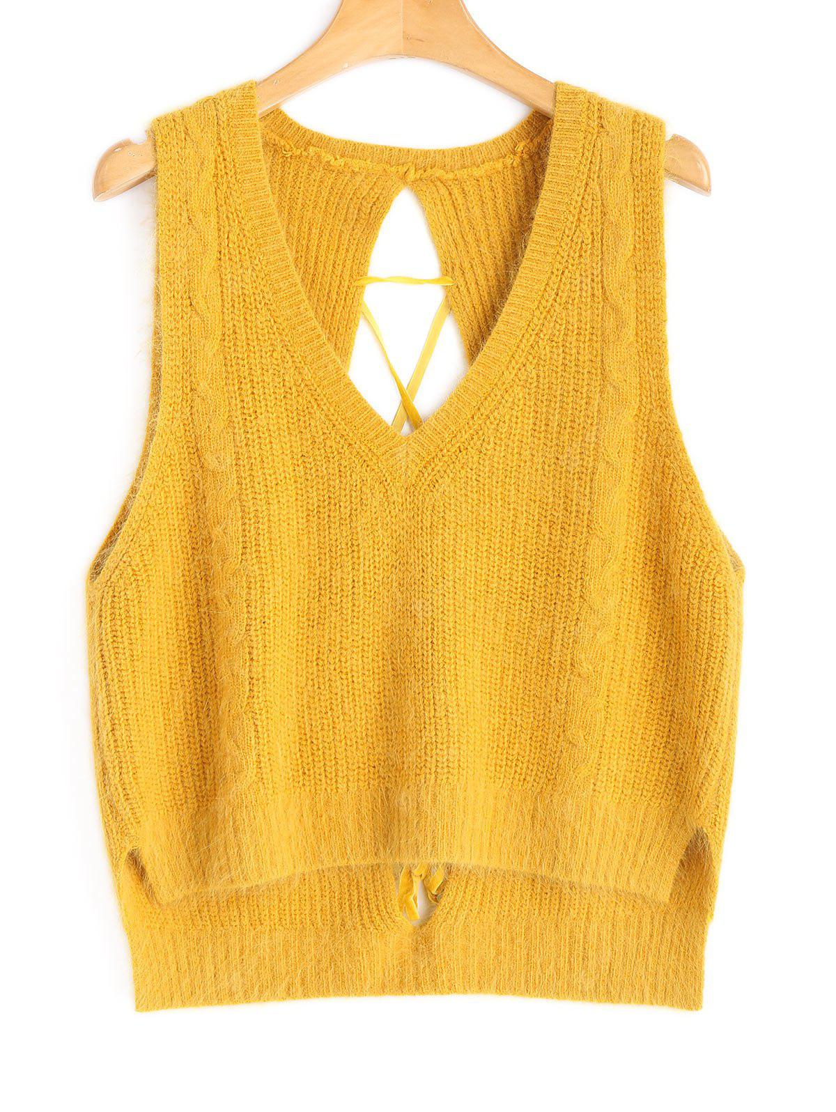 Lace Up Vest High Low Sweater
