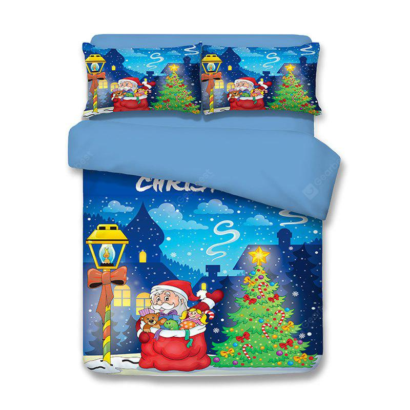 BLUE FULL Christmas Tree Santa Claus Print 3Pcs Polyester Fiber Bedding Sets