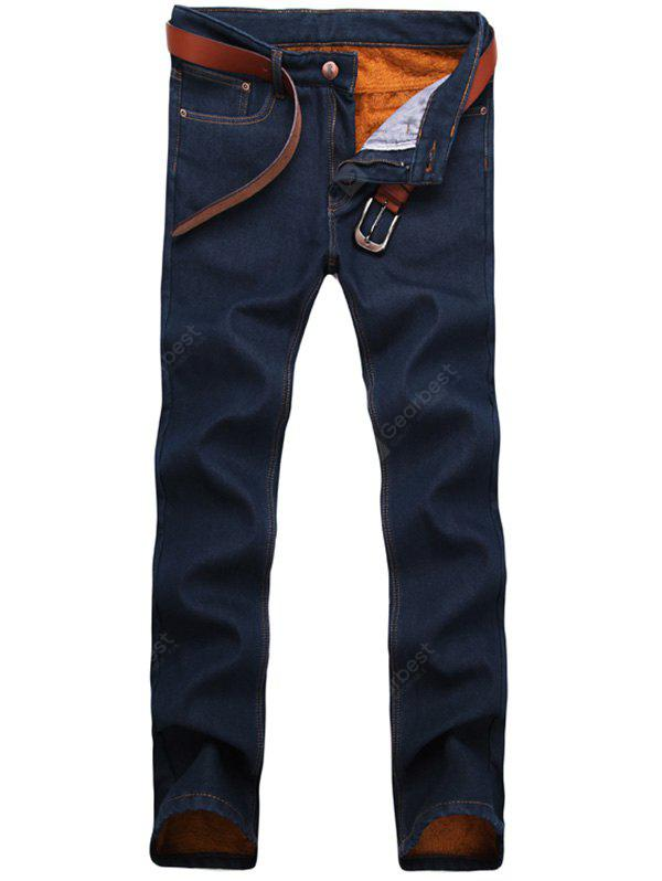 Zip Fly Straight Leg Flocking Jeans