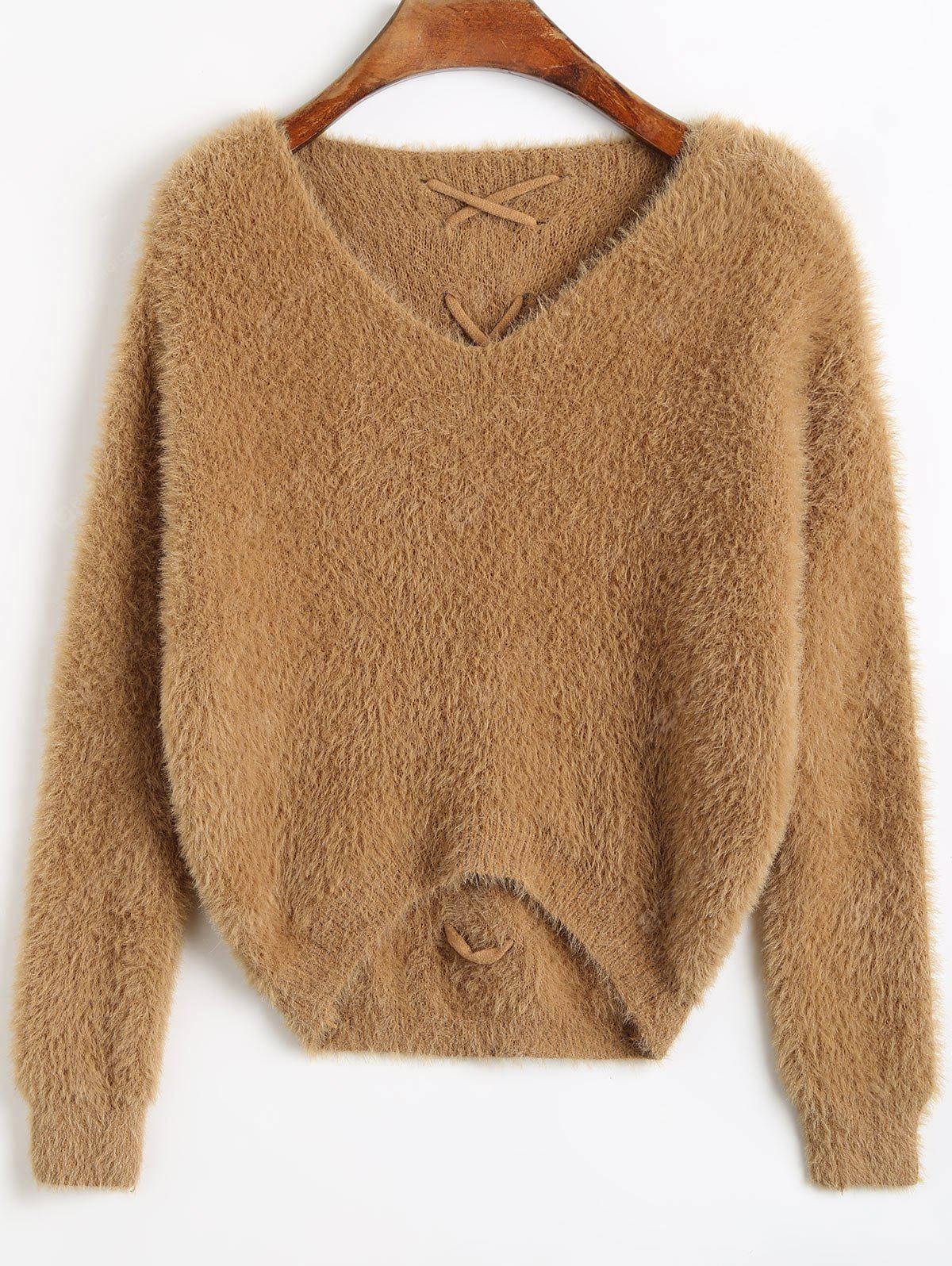 Voltar Lace Up High Low Fuzzy Sweater